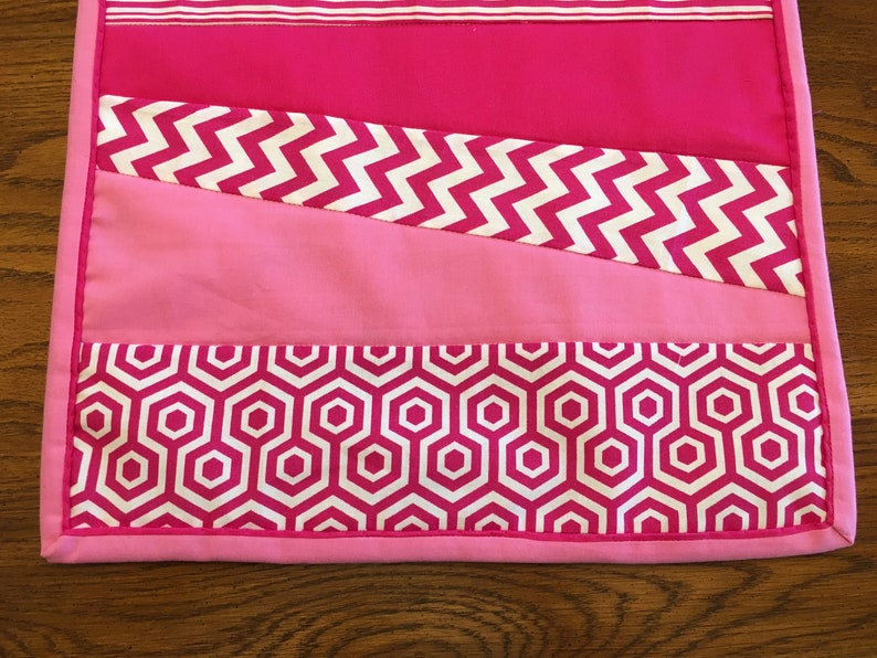 Reversible 70 Reversible Table Runner with pink and white fabric housewarming gift summer table linen Dining Room Table Handmade Table mat