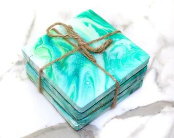 Light Green Sea Foam Coasters Set of Four