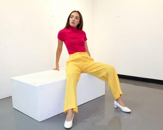 Vintage High Waisted Yellow Linen Pants