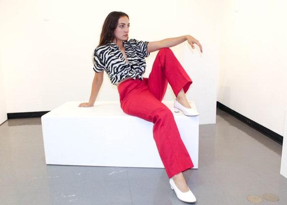 Vintage High Waisted Fuchsia Linen Pants