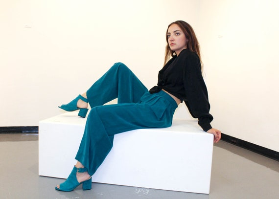 Vintage High Waisted Turquoise Silk Pants