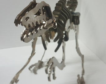 4 Dinosaur Charms Antique Silver Tone Velociraptor SC7303 Great Detail