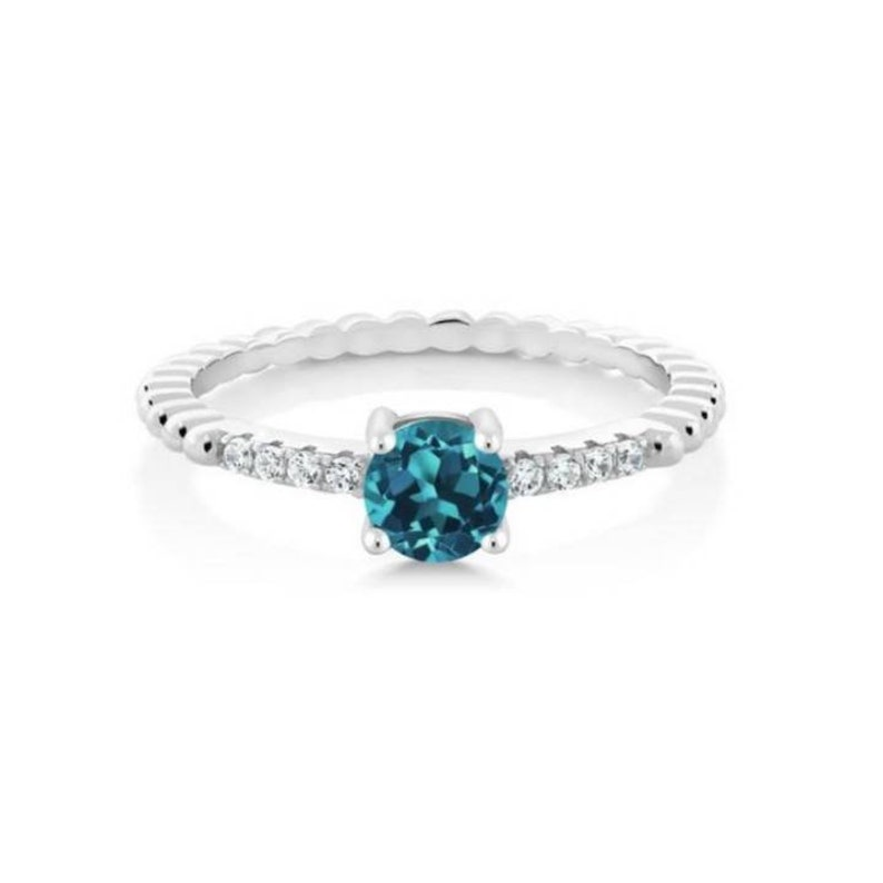 Anniversary wedding statement love promise proposal Ring. 925 Sterling silver London Blue Topaz Zircon gemstone A perfect Engagement