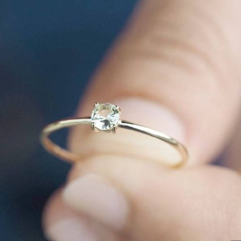 Solid 925 sterling silver White Topaz Gemstone Ring Jewellery Girls women princess love proposal promise engagement anniversary wedding Ring