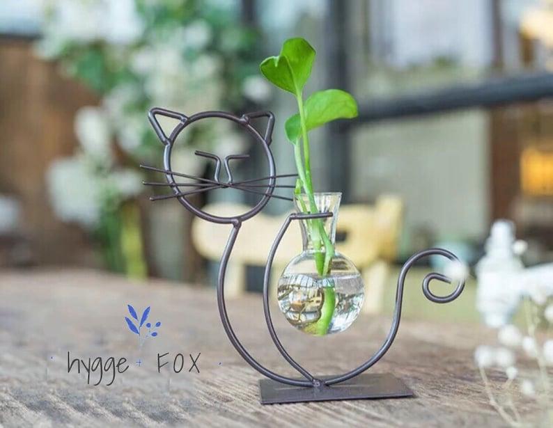 Simple Cat Glass Vase Water Plant Vaseglass Vasedried Etsy