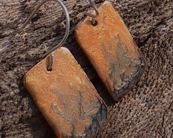 Copper earrings, delicate earrings, handpainted, sterling silver, sparkly earrings, lightweight earrings, rectangle earrings, orange