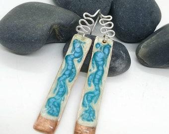 sterling silver hoop earrings 7th anniversary gift for women Blue green dangle earrings hand painted enamel copper earrings