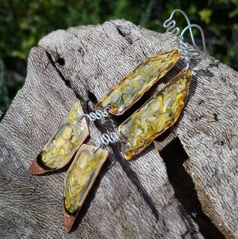 7th anniversary gift for mom handmade artisan silver ear wires long dangle earrings hand painted enamel earrings Statement earrings