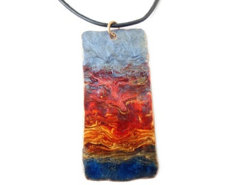 Copper pendant, necklace, sunset, artisan pendant, iridescent pendant, copper jewellery, rectangle pendant, leather cord, multicoloured