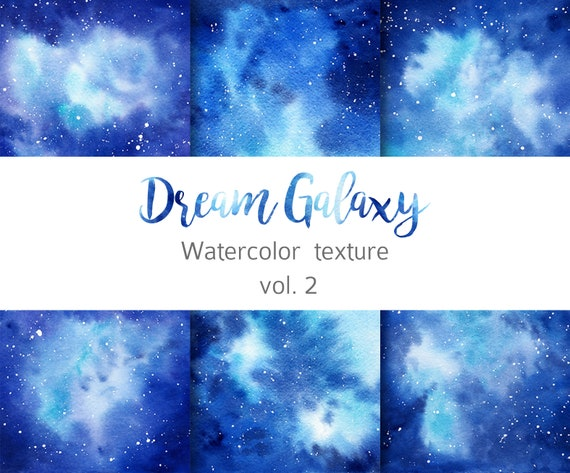 Watercolor Navy Blue Galaxy Digital Paper Starry Sky Watercolor Texture Celestial Galaxy Clipart Winter Wedding Universe Paper