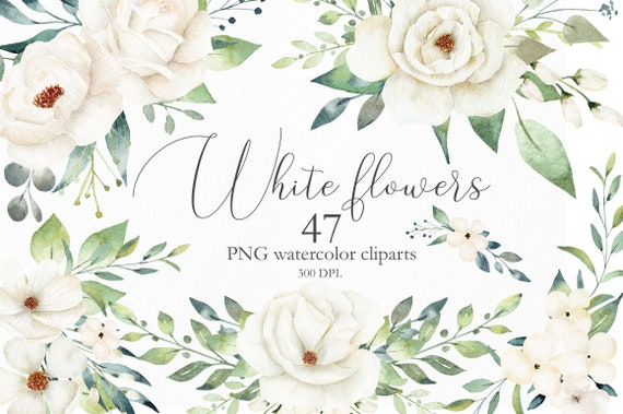 Watercolor Flower and Leaves Elements Greeting card Clipart Clip Art PNG Graphics Instant Download Floral Wedding Invitation