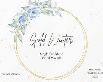 Watercolor Floral Gold Wreath, Blue Flower & Greenery Round Frame for Wedding Invitation, DIY PNG File for Instant Download. WBF