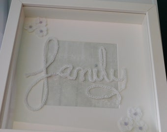 Crochet picture with the word Family