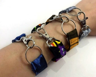 punk goth fabric bracelt - metal clamps