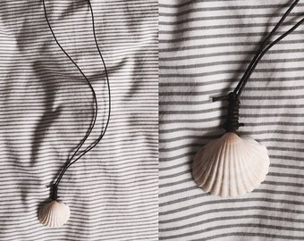 Unique Sea Shell Necklace on leather string hand-made in Cornwall