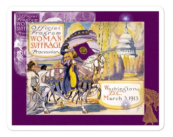 1913 Women's March On Washington Stickers With Purple Border - Votes For Women - Say It With Stickers