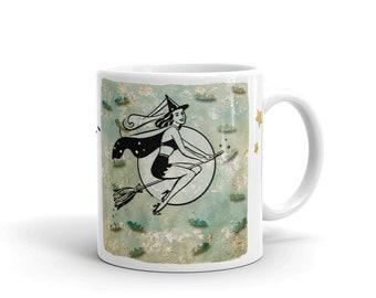 Fun Retro Halloween Witch On Her Broomstick Mug