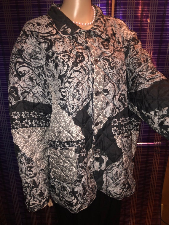 Silk Quilted Reversible Black and Gray  Vintage J… - image 1