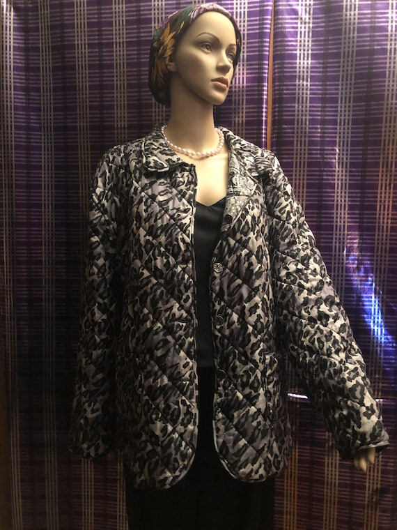 Silk Quilted Reversible Black and Gray  Vintage J… - image 2