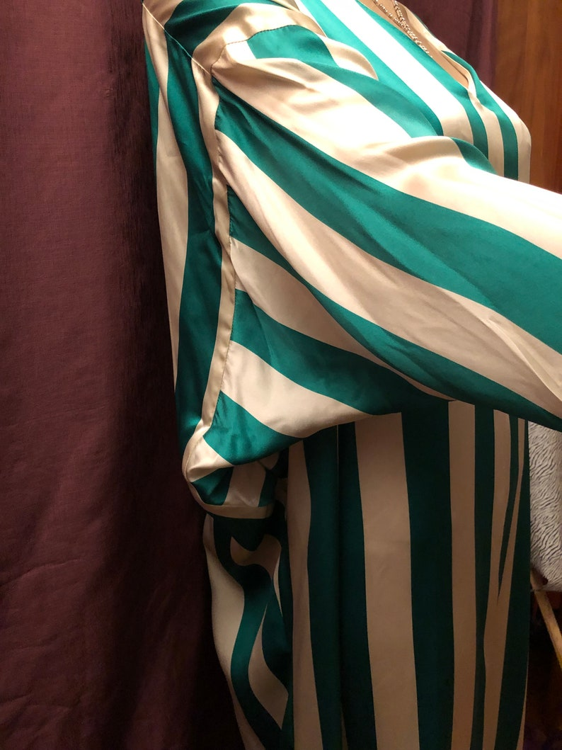 VTG Silk Kaftan by I.Magnin Green and White Striped One Size