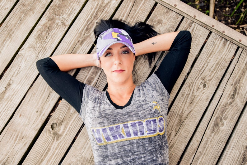 8b45bf1c Women's MN Embroidered Vikings purple camouflage high ponytail, messy bun  baseball style slouch hat