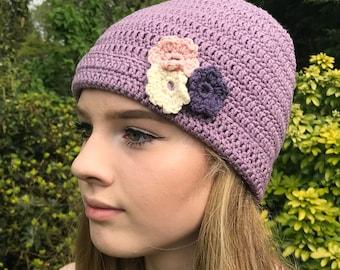 flower hat in purple