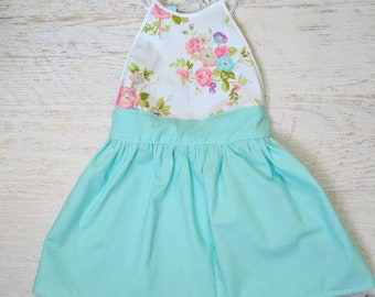 Blue floral toddler girls baby lace dress