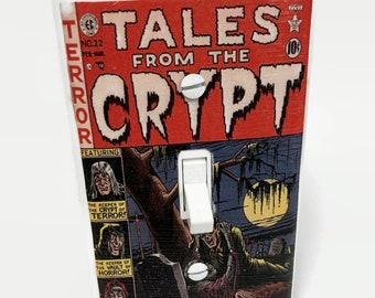 Tales From the Crypt Light Switchplate, Horror Movie Memorabilia, Light Switch Cover, Comic Book Art, Housewarming Gift for Horror Fan