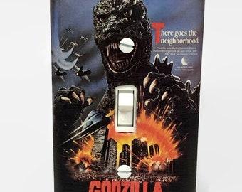 Godzilla 1985 Light Switchplate, Monster Movie Memorabilia, Light Switch Cover, 80s Movie, Housewarming Gift, Godzilla Fan, Legend is Reborn