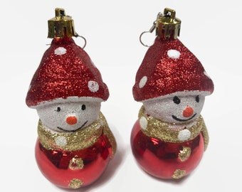 Glitter Snowman Ornament Earrings Ugly Sweater Earrings Red Retro Holiday Vintage Ornament, Women's Earrings, Holiday Gift, Holiday Fashion