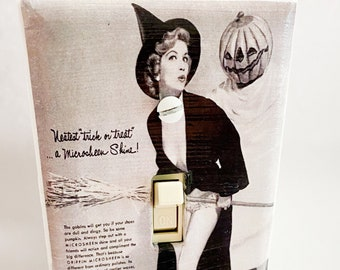 Vintage Witch Costume Light Switchplate, Pin Up Witch, Vintage Pin Up Girl, Light Switch Cover, Housewarming Gift for Horror Fan, Witch Fan