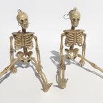 Full Body Skeleton Earrings Long Halloween Earrings Scary Skeleton Jewelry Dangle Earrings Womens Halloween Jewelry Recycled Goth Jewelry
