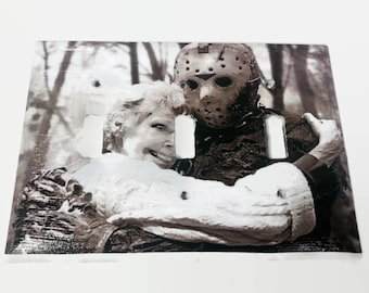 Friday the 13th Jason Voorhees & His Mom Triple Light Switchplate, Horror Movie Merch, Light Switch Cover, Housewarming Gift for Horror Fan