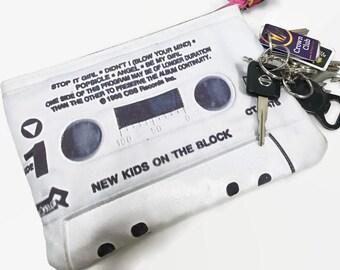 New Kids on the Block NKOTB Cassette Tape Clutch Purse Retro 80s 90s Self Titled Debut Album 80s Music 90s Music Boy Band Mixtape