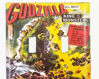 Godzilla King of the Monsters Light Double Switchplate, Monster Movie Light Switch Cover, 50s Movie, Housewarming Gift, Godzilla Fan