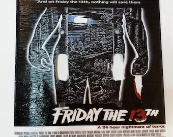 Friday the 13th Double Light Switchplate, Jason Voorhees, Horror Movie Memorabilia, Light Switch Cover, Housewarming Gift for Horror Fan