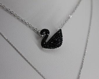 Black Swan Rhinestone Pendant Necklace