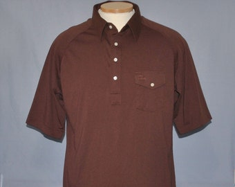 3e50829f44b560 Vintage Izod Lacoste Men s Shirt Size XXL Brown Retro Polo w  Pocket Logo  Short Sleeve Casual Top