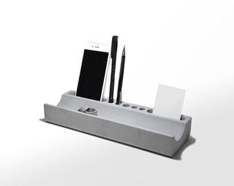Concrete Desk Organizer | Docking Station | Phone Holder | Pen Organizer | Business Cards Holder | Concrete Office Tray Desk Tray