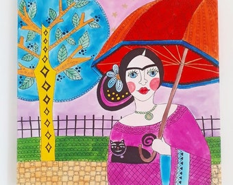 Freda Kahlo painted less on canvas painting colorful contemporary art gipsy style