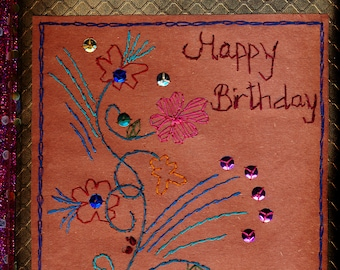 Hand Embroidered Greeting Card