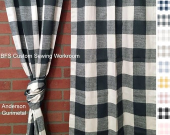 More Colors Farmhouse Boston Check Gingham Curtains Drapes