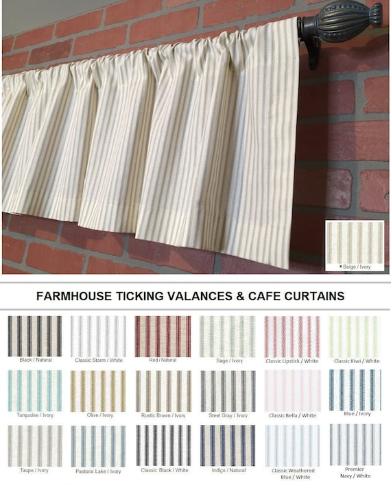 Farmhouse Ticking Stripe Kitchen Cafe Curtains/Window Valance -19 Colors  -Flat Panel or Rod Pocket - Custom Curtains -Ships in 5-10 Biz Days