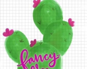 Hand lettered sublimated transfer - original design - cactus
