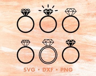 Wedding Ring SVG, Diamond Ring SVG, Engagement Ring Svg, Love Svg, Bride Svg Files For Cricut, Svg Silhouette, Svg Designs, Fiance Clipart