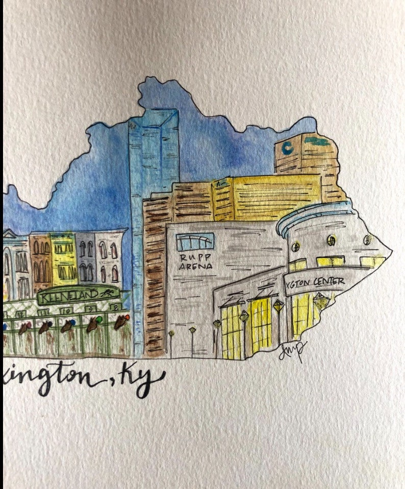 downtown illustration Custom City Scene Watercolor available for any state multiple sizes original artwork