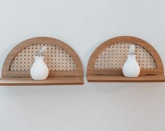 Rattan wall shelf's set of 2 / wall hanging / boho decor
