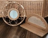 Boho bundle rattan mirror and rattan wall shelf boho decor rattan gift