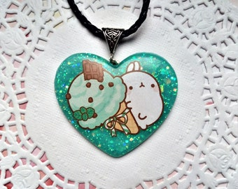Molang Heart necklace with resin ice cream