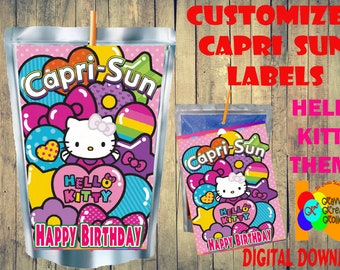 d1e98e5be Hello Kitty Capri Sun Labels Instant Download, DIY Printable HELLO KITTY  Party Caprisun Label, Capri Sun Digital Downloads, Hello Kitty